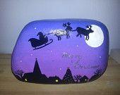 Hand painted stone Christmas Eve Santa's Sleigh Sillhouette Design