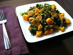 warm kale salad with butternut squash and andouille chicken sausage