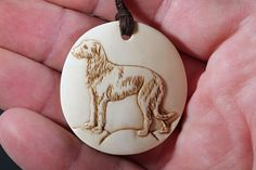 Scottish Deerhound relief. Size 4cm, beefbone. #bonecarving #pendant #dog