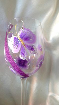 Hand painted wine glasses hand painted goblet by Aligri on Etsy