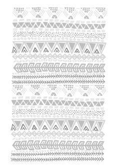 Grey aztec pattern Art Print