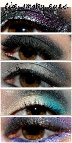 5 Smoky Eye Makeup Looks    I love to blend colors. So cool!
