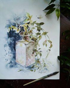 Апрельский барвинок  акварель, 30х40см., 2018  #инна_петрашкевич #акварель #натюрморт #зеленый #барвинок #inna_petrashkevich #watercolor #instagram