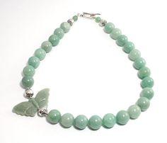 Green Jade Butterfly Necklace Pastel Green by BigSkiesJewellery