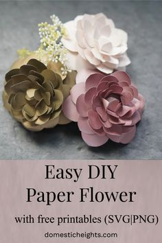 DIY Paper Camellia (with free flower template) - DOMESTIC HEIGHTS free cricut paper flower template, medium paper flowers template, free paper flower templates for cricut, how to make a paper camellia Free Paper Flower Templates, Paper Flower Tutorial, Templates Printable Free, Free Printables, Paper Flower Diy Easy, Flower Petal Template, Paper Flower Patterns, Rose Tutorial, Preschool Printables