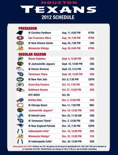 2012 schedule features 5 games on national television! Houston Texans  Schedule 854dda782