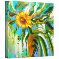 Susi Franco 'Sunflower Melting' Gallery-Wrapped Canvas   Overstock.com Shopping - Top Rated Art Wall Canvas