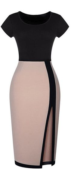 We've come to learn that sexy bodycon dresses ♥♥♥are a little wardrobe saviour for those evening party moment .♥♥♥ This bodycon dress can be a evening dress ,party dress  & even a work dress .We love the color block ♥♥♥for the top and down for a chic look .