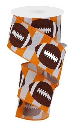 Excited to share this item from my #etsy shop: Orange and White Football ribbon, Wired ribbon, Orange White Brown Football, Wired Ribbon, Tennessee Ribbon, College Ribbon, RGA1367G7 #orange #waysidewhimsy Sports Wreaths, Browns Football, Homecoming Mums, Glitter Ribbon, Wired Ribbon, Diy Wreath, Deco Mesh, Red White Blue, Tennessee