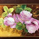 Limoges France Stunning hand-painted rose framed plaque/ painting on : Mirabeau & Rive-Gauche Antiques | Ruby Lane