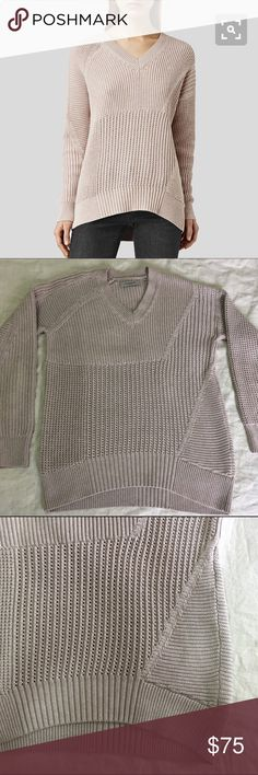 All Saints Meller Jumper Meller Jumper (sweater) in Sandstone Pink. EUC, no signs of wear! Worn a handful of times always with an undershirt and never washed. 100% cotton. Dry clean, hand wash, or machine wash inside out. Stored flat. All Saints Sweaters V-Necks
