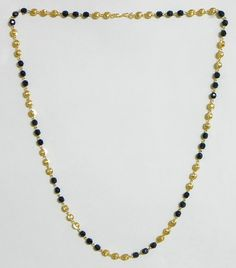Gold Plated Mangalsutra with Black Crystal and Golden Bead (Beads and Metal))