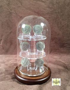 "Glass Platform Coin Display Dome - 4"" x 7"". Classy way to display those prized challenge coins"