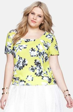 Plus Size Women's ELOQUII Square Neck Floral Print Top