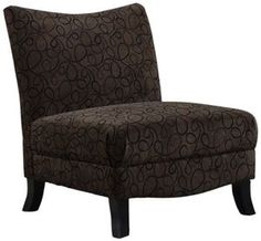 Monarch Specialties Brown Swirl Fabric Armless Accent Chair
