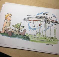 Commissioned piece of assembling a out of the swamps of dagobah. Bd Star Wars, Star Wars Comics, Star Wars Art, Lego Star Wars, Patrick Nagel, Star Wars Cartoon, Star Wars Jokes, Calvin Et Hobbes, Comics Und Cartoons
