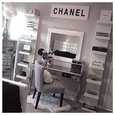 This vanity that makes gray look chic AF. | 25 Vanities That Are Basically Porn For Makeup Addicts
