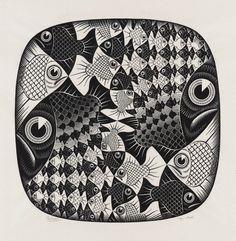 Vissen en Schubben, 1959, houtsnede