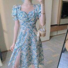 Daisy Floral Split Prarie Chic Midi Dress Soft Girl Cottagecore Fashion Trend Fashion, Look Fashion, Asian Fashion, Tokyo Fashion, Korea Fashion, 70s Fashion, Spring Fashion, Fashion Online, Fashion Ideas