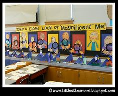 MAGNIFICENT ME: LOVED THESE!!! Each child painted a self portrait and wrote a bio poem about themself. I printed their poems on an overhead transparency and attached it to the magnifying class cutout. So stinking cute!