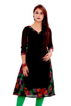 Black Georgette 3/4 Sleeve Printed Women's Kurti - GMI Kurtas & kurtis for women   buy women kurtas and kurtis online in indium