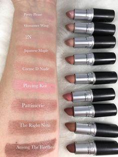 MAC Lipstick Swatches Lipstick For Fair Skin, Lipstick Shades, Hug Me Mac Lipstick,