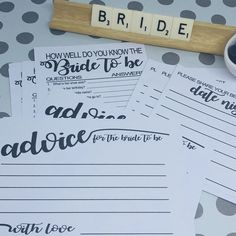 An elegant collection of games and keepsakes for the bride to be.