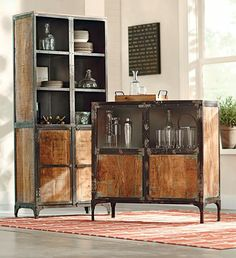 This could be nice for your kitchen - especially if you could grind the metal parts down to brushed silver, then paint/distress the wooden areas black.