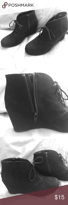 Merona Black Ankle Booties NEVER WORN  Target brand - Size 11 (womens) - Black  There is a zipper on the left sides, and laces down the middle. Merona Shoes Ankle Boots & Booties