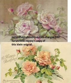 christie repasy's image is on top.  a vintage postcard with klein's image is on the bottom. note that even the leaves in the upper right and lower left are copied.  the bud in the upper left is copied also