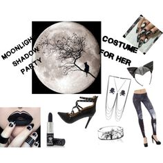 Moonlight Shadow party - Halloween costume under $50 by b-whalley on Polyvore featuring Manic Panic NYC, claire's and GUESS