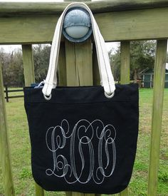 Custom Large Monogram Canvas Bag  Your by sewgoddesscreations, $22.00