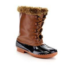 Forever Kyla-1 Women's Comfy Faux Fur Collar Lace Up Waterproof Snow Duck Boots * Stop everything and read more details here! : Women's snow boots