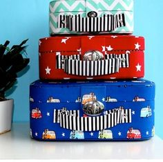 FABRIC COVERED STORAGE CASES BOYS SET OF 3 - $74.95 - You can never have enough storage space when it comes to children's accessories, toys and trinkets. Every child loves to collect little treasures and store them in special places.   That's why Elephant in the trunk has designed these fabulous new storage cases that are fun and stylish for any child's room and perfect for travelling. #sweetcreations #boy #bedroom #playroom #decor #designer #elephantintheroom