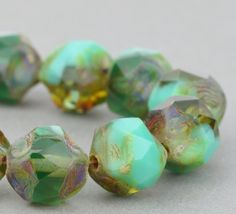 Czech Glass Beads - Central Cut Beads  - Turquoise Opaque and Green Transparent Mix with Picasso Finish - 9mm Beads - 15 beads @SolanaKaiBeads on Etsy #Beads #BeadShop #SolanaKaiBeads