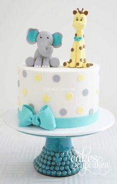 Elephant and giraffe. elephant and giraffe giraffe cupcakes, baby shower Elephant And Giraffe Baby Shower, Safari Baby Shower Cake, Baby Shower Cakes Neutral, Baby Shower Cakes For Boys, Baby Boy Cakes, Baby Shower Desserts, Baby Boy Shower, Zoo Birthday Cake, Giraffe Birthday Cakes