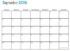 September 2016 Free Printable Calendar
