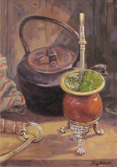 Beautiful painting from Florencio Molina Campos. He was an Argentine illustrator and painter. Rio Grande Do Sul, Love Mate, Yerba Mate Tea, Pallet Painting, Still Life Art, Still Life Photography, Life Images, Beautiful Paintings, Tango