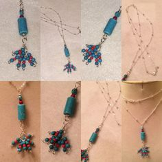 ".925 Sterling Silver Ball Chain 32"" with Turquoise and Coral Gemstone Pendant. $30. $2 shipping  paypal.me/pmiddleton"