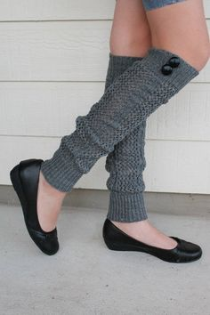Gray Crochet Leg Warmers with  Buttons by Khloesfashion on Etsy, $27.90