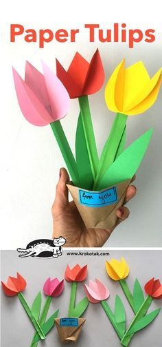 Paper Tulips - Basteln mit Kindern Best Picture For Mothers Day Crafts for Kids oven mitt For Your T Paper Crafts For Kids, Crafts For Kids To Make, Easter Crafts, Fun Crafts, Diy And Crafts, Paper Flowers Craft, Flower Crafts, Flower Art, Paper Child