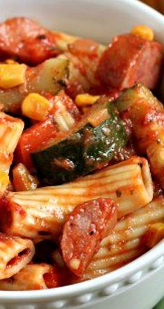 Zucchini Kielbasa Pasta Recipe - Food and Ideas - Turkey Kielbasa Recipes, Kilbasa Sausage Recipes, Smoked Sausage Recipes, Sausage Pasta Recipes, Gnocchi Recipes, Healthy Pasta Recipes, Casserole Recipes, Cooking Recipes, Eckrich Sausage