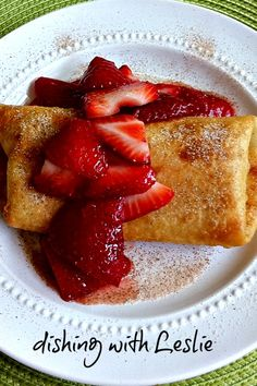 OMG!!!  this sounds like nothing short of heaven!!!  Cheesecake Burritos with strawberries. Cream cheese filling with a tad of cinnamon; deep fry and you have heaven on earth!
