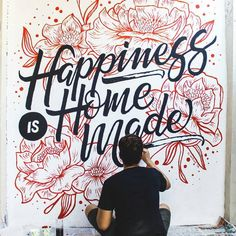 """inspiration """"Happiness is homemade"""" by giancarlowong - GREAT lettering and awesomely executed!""""Happiness is homemade"""" by giancarlowong - GREAT lettering and awesomely executed! Types Of Lettering, Brush Lettering, Lettering Design, Wall Lettering, Lettering Styles, Calligraphy Letters, Typography Letters, Caligraphy, Inspiration Typographie"""