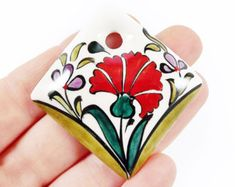 OOAK Large Hand painted Turkish Cini Ceramic Pendant - Red Carnation Flower White No: 10 - Ceramic Pendant, Ceramic Jewelry, Enamel Jewelry, Red Carnation, Make Your Own Jewelry, Glazes For Pottery, Stone Painting, Turkish Tiles, Wood Art