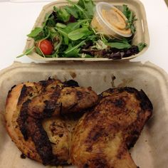Day 7 Dinner: Roasted chicken and mesclun salad with 5 drops of that dressing. Late night dinner at the office from Kitchenette in TriBeCa.