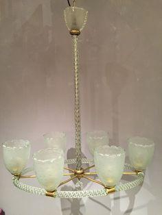 Lustre Barovier, Murano,  à six lumières. 6 lights Barovier chandelier from the 50' Présenté par Thomas Bonzom