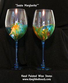 """Santa Margherita"" Large 32 oz Hand Painted Crystal Wine Stems"