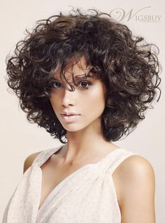 2014 Fashion Trendsetting Fluffy Medium Curly Bob Hairstyle 150% Heavy Hair Density Full Lace Wig about 12 Inches: wigsbuy.com