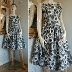 Vintage brun-grå blommig klänning vid kjol Rockabilly 50-tal 60-tal d80bfdb94fe61